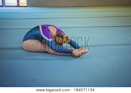Female gymnast performing stretching exercise in the gymnasium
