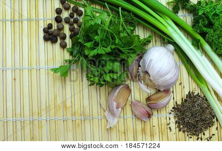 Green onions, parsley, garlic and spices. Healthy food