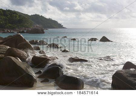 Beach View At Anse Lazio, Praslin Island, Seychelles