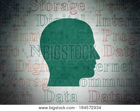 Data concept: Painted green Head icon on Digital Data Paper background with  Tag Cloud