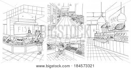 Supermarket interior hand drawn contour illustrations set. Grocery store: fish, bread, fruit, vegetable departments with shoppers