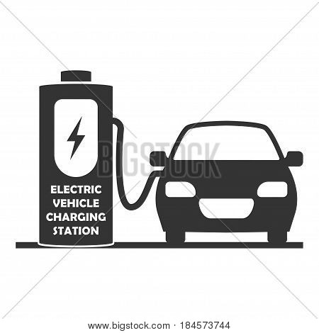 Charging station for electric cars. Electric vehicle on charge. Isolated on white background. Vector icon.