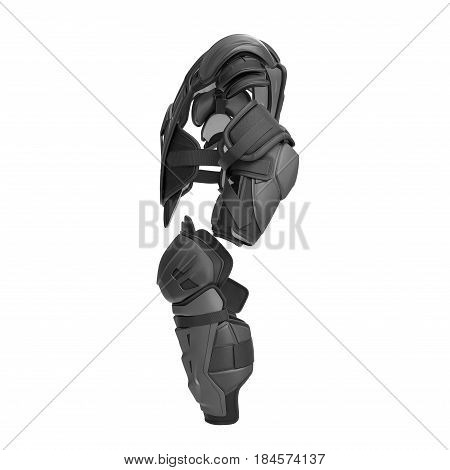 Hockey Protective Gear Kit on white background. Side view. 3D illustration