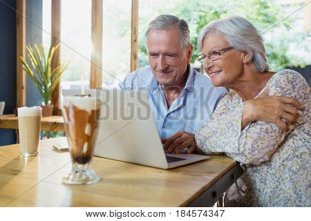 Senior couple using laptop in café