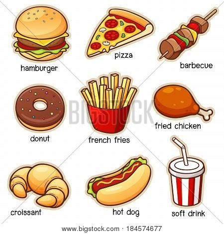 Vector illustration of Cartoon Food set Vocabulary