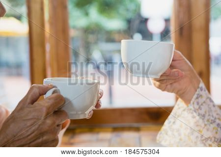 Close-up of senior friends having coffee in café
