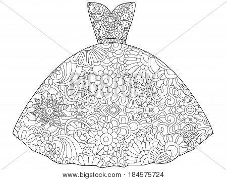 Vector illustration of dress princess coloring book. Anti-stress coloring for adult clothes. Zentangle style fashion. Black and white lines. Lace pattern