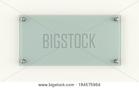 Glass plate. Business design template. 3d rendering