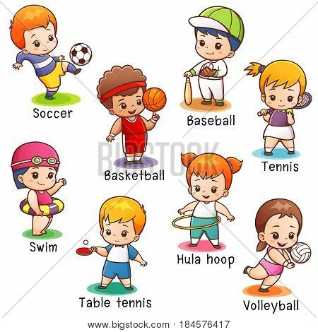 Vector illustration of Cartoon Sport character vocabulary