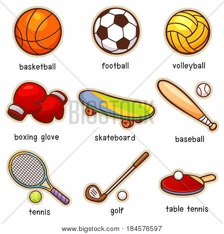 Vector illustration of Cartoon Sport element vocabulary