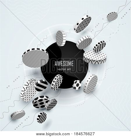 Dynamic decorative 3D circles with ornament. Black and white geometric volumetric shapes moving on a colored pastel background. Abstract poster in cold fresh tones. Concept Style. Vector illustration