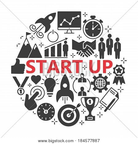 Start-up project- silhouette web icon set. Start up business icon set suitable for info graphics, websites and Ul.