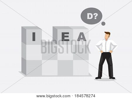 Cartoon office worker finds missing letter in alphabet building blocks read IDEA. Creative vector illustration for word play on lacking in idea metaphor.