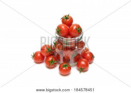 cherry tomatoes on a white background. horizontal photo.