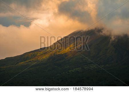 Slope of the active volcano of Arenal during sunset. Costa Rica