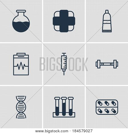 Vector Illustration Of 9 Health Icons. Editable Pack Of Treatment, Medicine, Pharmaceutical And Other Elements.