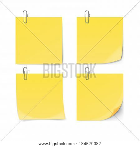 Yellow sticky note with paper clip isolated on white background. Vector illustration.