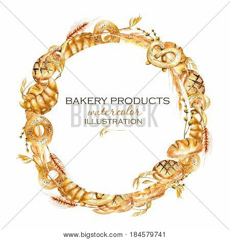 Wreath, circle frame border with bakery products (bagel, loaf, French baguette), hand drawn in watercolor on a white background