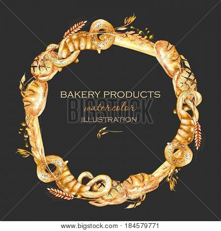 Wreath, circle frame border with bakery products (bagel, loaf, French baguette), hand drawn in watercolor on a dark background