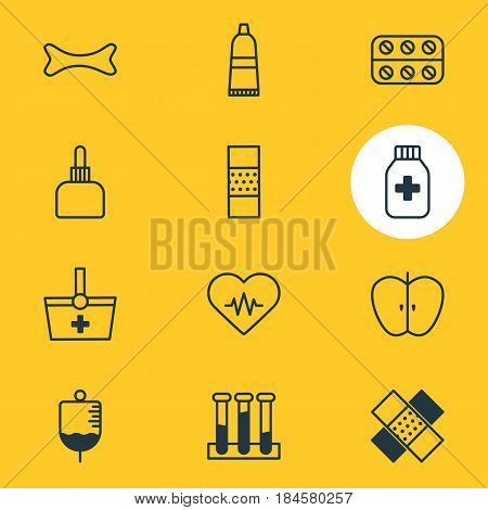 Vector Illustration Of 12 Health Icons. Editable Pack Of Medicament Pitcher, Experiment Flask, Medicine Jar And Other Elements.