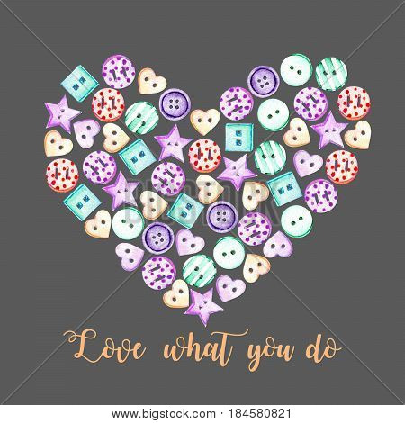 Heart illustration with watercolor colored buttons, hand drawn isolated on a darkbackground