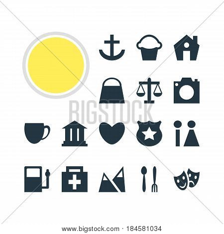 Vector Illustration Of 16 Location Icons. Editable Pack Of Refueling, University, Cop And Other Elements.