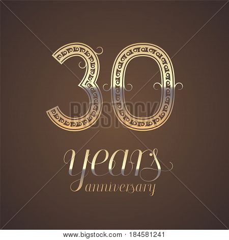 30 years anniversary vector icon symbol. Graphic design element with golden number for 30th anniversary greeting card