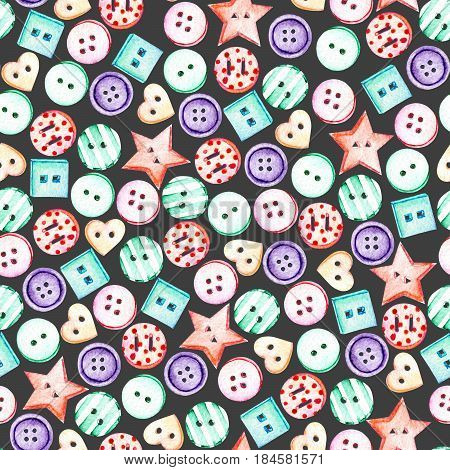 Seamless pattern with watercolor colored buttons, hand drawn isolated on a dark background