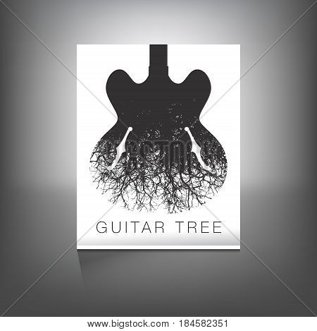 A stunning image of a guitar and tree for print or web