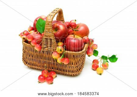 apples in a wicker basket isolated on white background. horizontal photo.