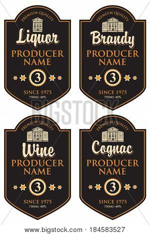 set of retro labels for various alcoholic beverages in the frame with old building in retro style