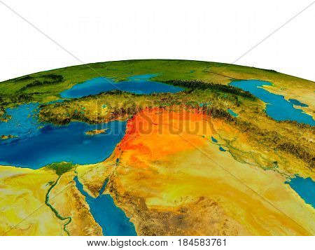 Syria On Model Of Planet Earth