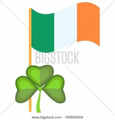 Ireland Flag patriotism sign national banner symbol vector illustration. Ireland flag fabric government holiday, shape
