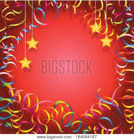 Frame made of serpentine. On a red background with stars