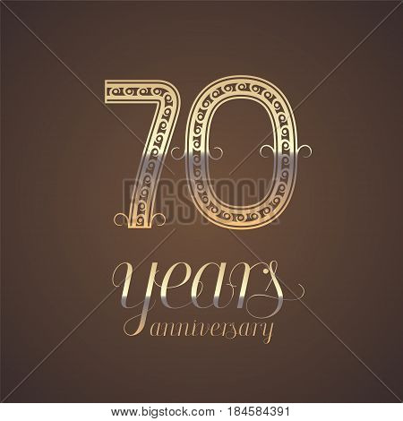 70 years anniversary vector icon symbol. Graphic design element with golden number for 70th anniversary greeting card