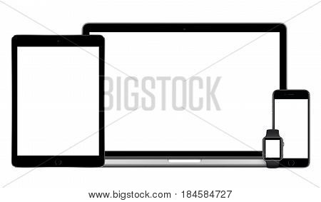 Varna Bulgaria - March 10 2016: Apple multi devices mockup set comprising MacBook Pro black iPad Pro Space Gray iPhone 6S and Apple Watch front view. Isolated on white background.