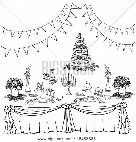 set of painted items for the table in celebration tablecloth gifts food cutlery flowers boxes cake for a wedding or birthday