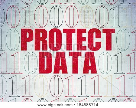 Protection concept: Painted red text Protect Data on Digital Data Paper background with Binary Code