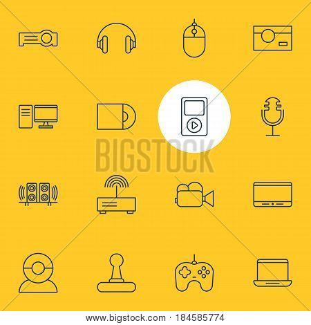 Vector Illustration Of 16 Accessory Icons. Editable Pack Of Media Controller, Cursor Controller, Game Controller And Other Elements.