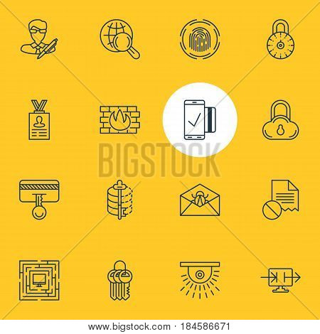 Vector Illustration Of 16 Web Safety Icons. Editable Pack Of Finger Identifier, Encoder, Account Data And Other Elements.