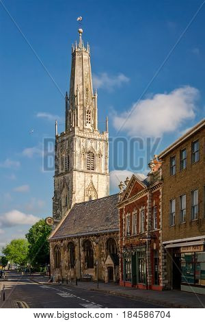 Gloucester United Kingdom - June 8 2013: View of St Nicholas' Church from the southeast on a sunny day. Copy space in blue sky.