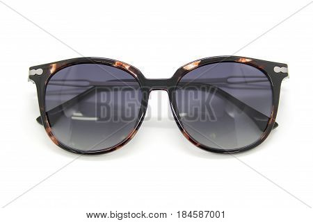 Modern fashionable sunglasses on white background Glasses