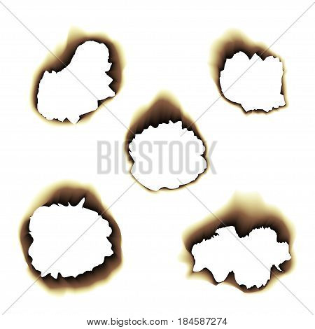 Scorched holes in the paper. Burned paper holes on a transparent background. Burnt scorched paper hole.