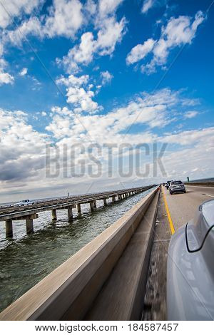 driving across lake pontchartrain causeway near new orleans