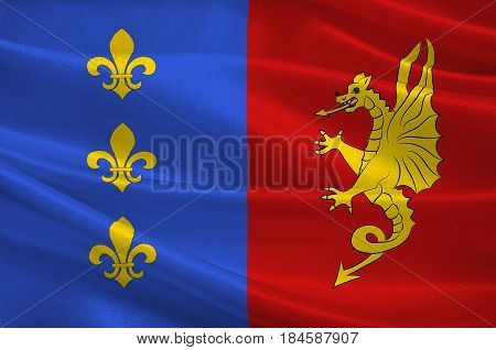 Flag of Bergerac is a commune and a sub-prefecture of the Dordogne department in southwestern France. 3D illustration