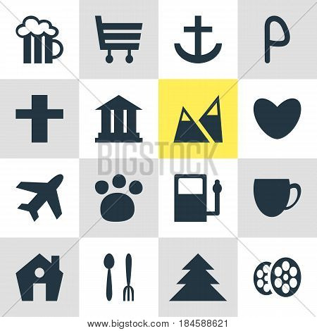 Vector Illustration Of 16 Check-In Icons. Editable Pack Of Anchor, Heart, Cross And Other Elements.