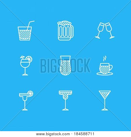 Vector Illustration Of 9  Icons. Editable Pack Of Glass, Martini, Margarita And Other Elements.