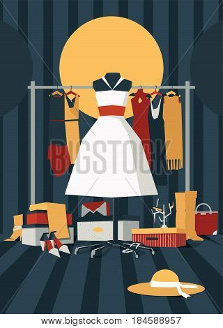 Fashion vector illustration with interior full of mess of bags shoe boxes shoes accessories and dresses. Hanger with dresses on stripe background. White fluffy dress on mannequin on foreground
