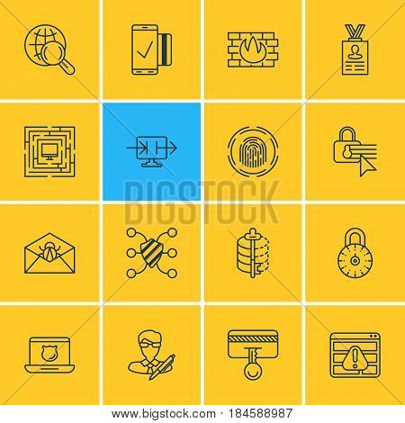 Vector Illustration Of 16 Protection Icons. Editable Pack Of Encoder, Internet Surfing, Finger Identifier And Other Elements.