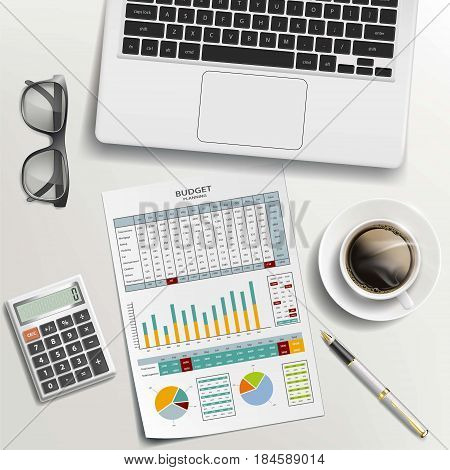Documents coffee and laptop on the desk. Paper work on budget planning. Stock vector illustration. Workplace of a businessman.